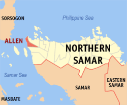 Map of Northern Samar showing the location of Allen