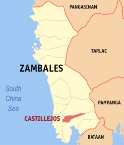 Map of Zambales showing the location of Castillejos.