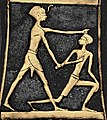 Pharaoh Ahmose I slaying a Hyksos (axe of Ahmose I, from the Treasure of Queen Aahhotep II) Colorized per source.jpg