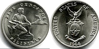 Philippine peso - 1944 Philippines five-centavo coin of the Commonwealth period.