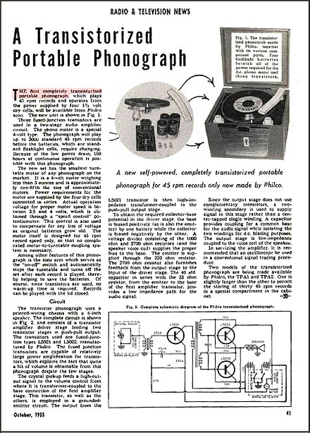 Philco all-transistor model TPA-1 phonograph - Radio and Television News magazine, issue October 1955 Philco TPA-1 All-Transistor phonograph - Radio and Television News Oct 1955.jpg