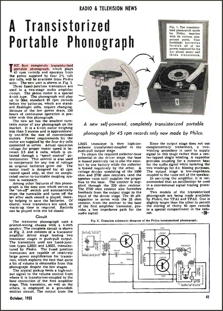 Philco TPA-1 All-Transistor phonograph - Radio and Television News Oct 1955