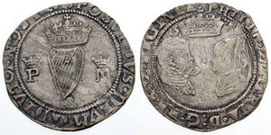Treason Act 1554 - Irish groat of 1557 depicting Philip and Mary as joint monarchs.