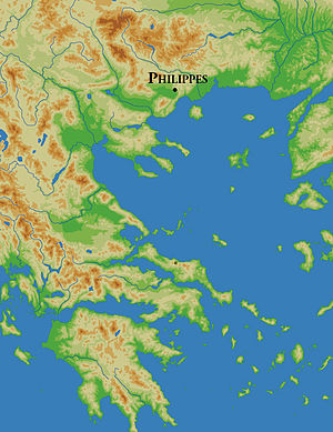 Battle of Philippi - Image: Philippi location