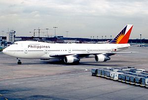 Philippine Airlines Flight 434 - EI-BWF, the aircraft involved, in December 1988