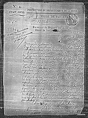 Philibert Aspairt - Death certificate of Philibert Asper