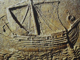 Bizerte - Phoenician ship carved on the face of a sarcophagus. 2nd century AD.