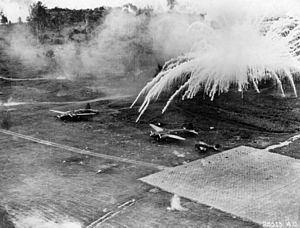 Phosphorus Bombs on Airfield at Rabaul.jpg