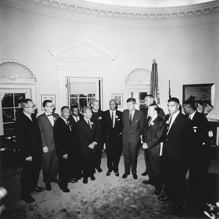 Kennedy meets with leaders of the March on Washington in the Oval Office, August 28, 1963 Photograph of Meeting with Leaders of the March on Washington August 28, 1963 - NARA - 194276.jpg