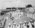 Photograph of sailors standing at attention aboard the U.S.S. WILLIAMSBURG, President Truman's yacht, during his... - NARA - 200562.tif