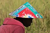 Photographic silhouette of the face of a woman wearing a conical hat made of repurposed bags of laundry detergent in Don Det Laos.jpg