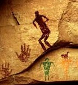 Early Basketmaker II Era - Pictograph, southeastern Utah, ca. 1500 BC Basketmaker culture.