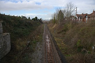 Pill railway station - The site of the former Pill railway station in 2009, looking west towards Portishead.