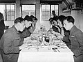 Pilots of No. 19 Squadron RAF eat lunch in the Officers' Mess at Fowlmere, the satellite airfield to Duxford in Cambridgeshire, September 1940. CH1460.jpg