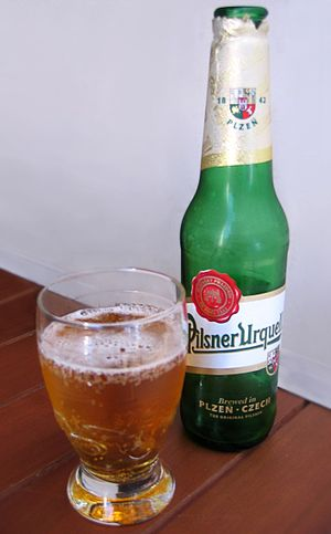 Pilsner - A bottle and a glass of Pilsner Urquell beer