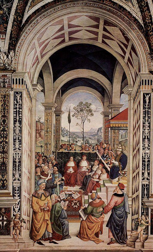 Pinturicchio, Libreria Piccolomini, Pio II convoca il concilio di Mantova