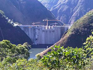 Renewable energy in Costa Rica - Pirrís Dam under construction in 2011 by the Costa Rican Institute of Electricity (ICE)