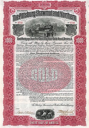 Pittsburg, Shawmut and Northern Railroad - Bond of the Pittsburg, Shawmut and Northern Railroad Company from the 1st February 1902