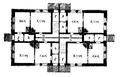 Plan af bostadshus för arbetare vid Uppsala ångkvarns aktiebolag, Nedre våningen, Nordisk familjebok.png