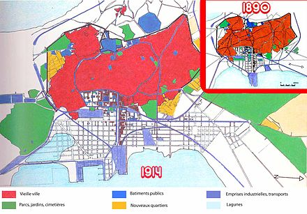 Urban evolution between 1890 and 1914 Plan tunis 1890 1914.jpg