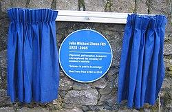 Photo of John Ziman blue plaque
