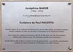 Photo of Josephine Baker white plaque
