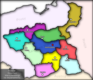 Kraków Department - Administrative division of the Duchy of Warsaw, 1810–1815. Kraków Department is light pink in the south.