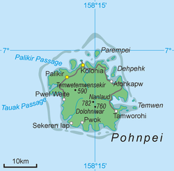 Palikir (in north-western side)  within the island of Pohnpei