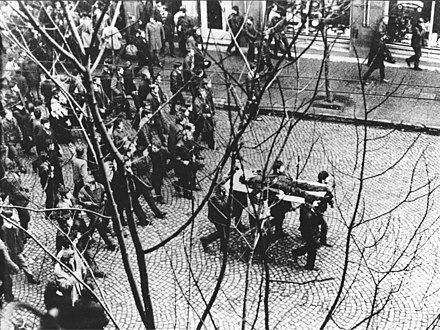 The 1970 Polish protests were ruthlessly crushed by the Communist authorities and Citizens' Militia. The riots resulted in the deaths of 42 people and over 1,000 injured. Polish 1970 protests - Zbyszek Godlewski body.jpg