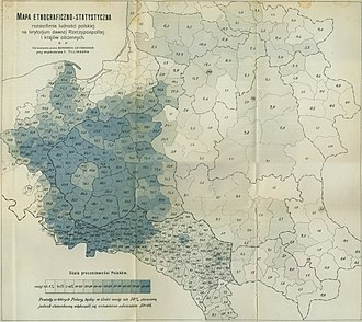 Poles in Lithuania - Percentage of Poles living on the former Polish–Lithuanian Commonwealth territories, ca. 1900