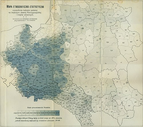 Percentage of Poles living on the former Polish-Lithuanian Commonwealth territories, ca. 1900 Polska1912.jpg