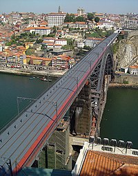 D. Luís Iron Bridge and Porto viewed from Vila Nova de Gaia.