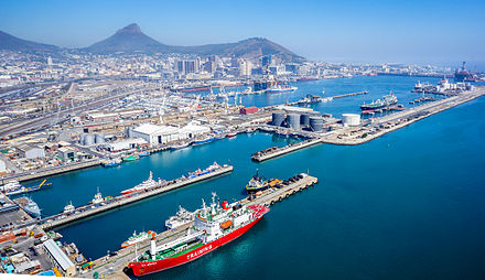 The Port of Cape Town is a major transport node in southern Africa. In addition to moving freight it also serves as a major repair site for ships and oil rigs. Port of Cape Town.jpg