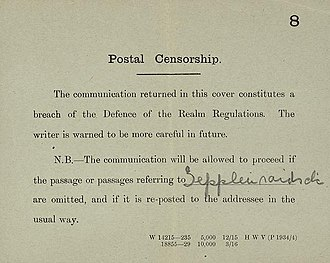 Defence of the Realm Act 1914 - Example of censorship under the Act of comments about Zeppelin raids in mail