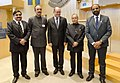Pranab Mukherjee with the Speaker of the Riksdag, Mr. Uban Ahlin, at Riksdagen, in Stockholm, Sweden. The Minister of State for Chemicals & Fertilizers, Shri Hansraj Gangaram Ahir and other dignitaries are also seen.jpg