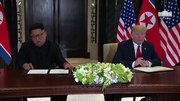 File:President Trump and North Korean Leader Kim Jong Un Signs a Declaration of Friendship.webm