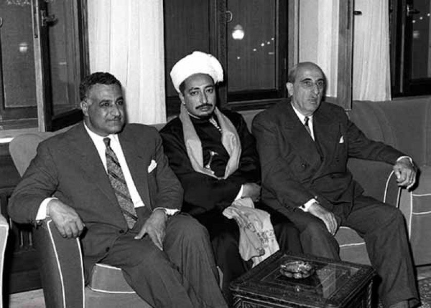 Presidents Gamal Abdul Nasser and Shukri al-Quwatli receiving Yemeni Crown Prince Mohammad Badr in Damascus in February 1958 congratulating them on formation of the United Arab Republic