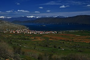 Prespa National Park - Scenic view from Albania over the Prespa Lake and Maligrad. Besides, the island contains the St. Mary's Church.