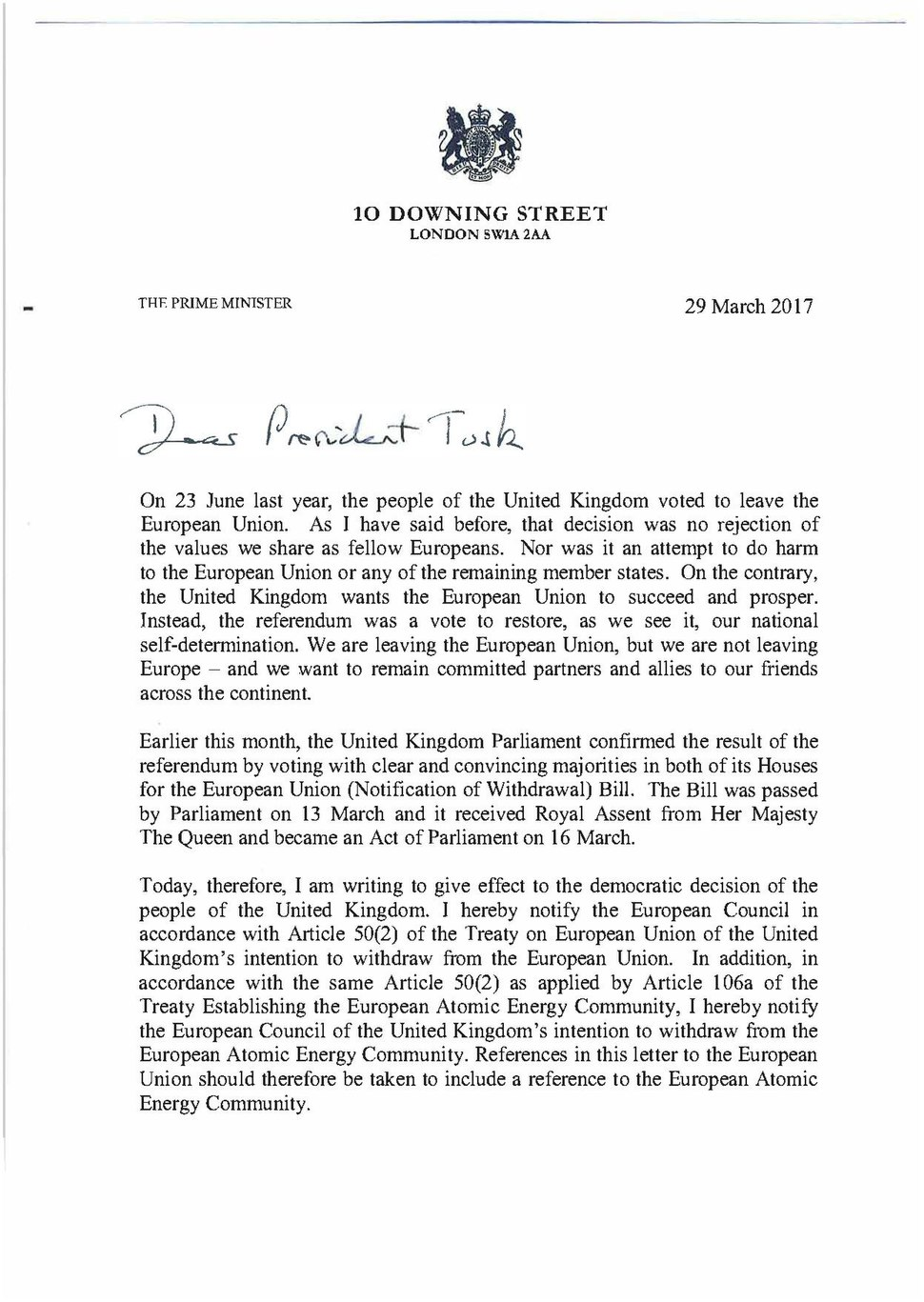 Prime Minister's letter to Donald Tusk triggering Article 50.pdf