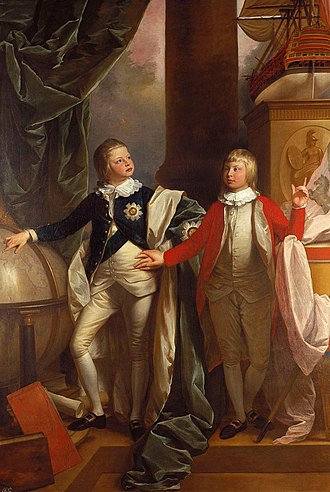 William IV of the United Kingdom - William aged thirteen (left) and his younger brother Edward, painted by Benjamin West, 1778