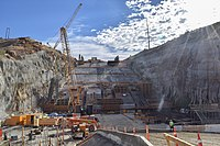 Progress in the lower chute of the Folsom Dam auxiliary spillway (15705851462).jpg