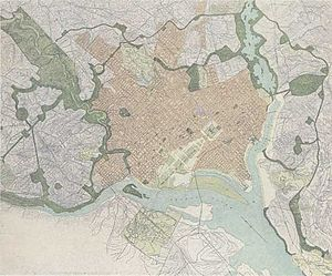 McMillan Plan - Additions to the D.C. park system (dark green) proposed by the McMillan Plan.