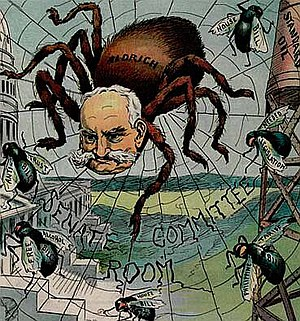 Nelson W. Aldrich - Reformers hated and feared Senator Aldrich for killing reforms disliked by big business. 1906 Puck cartoon.