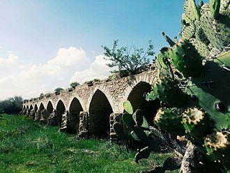 """Ojuelos de Jalisco - Bridge built in 1569 as part of the """"Camino de Tierra Adentro"""" route"""