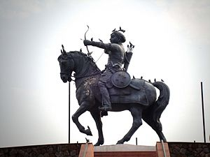 Prithviraj Chauhan - A statue at Qila Rai Pithora in Delhi