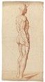 Rödkriteteckning på naken man och muskelgrupper bakifrån, 1760-tal - Skoklosters slott - 99340.tif
