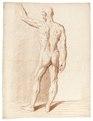 Rödkriteteckning på naken man och muskelgrupper bakifrån, 1760-tal - Skoklosters slott - 99342.tif
