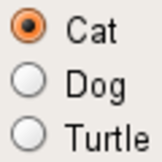 """Radio button - Radio buttons in GTK+; the option """"Cat"""" is selected."""