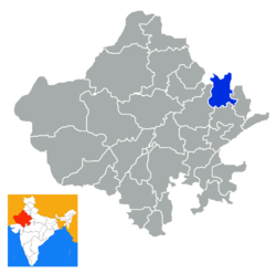 Location of Alwar district in Rajasthan