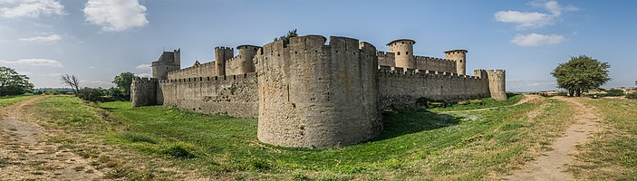 Ramparts of the historic fortified city of Carcassone, Aude, France
